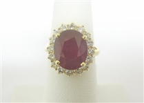 14K RUBY AND DIAMOND RING 8.26 C.T.W.