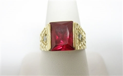 14K RED STONE RING