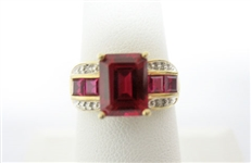 10K RED STONE AND DIAMOND RING
