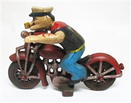 CAST IRON POPEYE ON A MOTORCYCLE