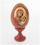 HAND MADE RUSSIAN LACQUER WOODEN MADONNA WITH CHILD EGG