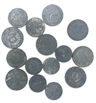 LOT OF 15 WWII NAZI GERMAN ZINC COINS 10,5 & 1 PFENNIG COINS CIRCULATED