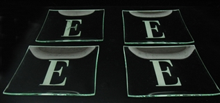 "SET OF 4 GLASS MONOGRAM ""E"" PLATES"