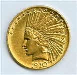 BOLDLY STRUCK 1910 $10 INDIAN GOLD COIN