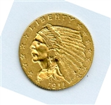 EXTREMELY RARE 1911 D $2 1/2 INDIAN GOLD COIN