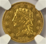EARLY NEARLY MINT STATE 1835 CLASSIC HEAD $2.50 GOLD PIECE. NGC AU55
