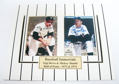 HAND SIGNED YOGI BERRA & MICKEY MANTLE 3X4s IN A 8X10 MATTED DISPLAY