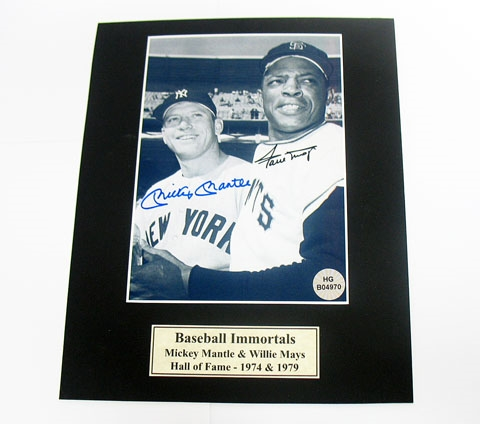 HAND SIGNED MICKEY MANTLE & WILLIE MAYS 5X7 IN A 8X10 MATTED DISPLAY