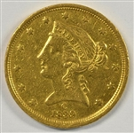 PROHIBITIVELY RARE GREAT-LOOKING 1839-C NO MOTTO $5 LIBERTY GOLD PIECE IN AU