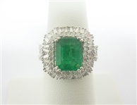 14K EMERALD AND DIAMOND RING 4.50 C.T.W.
