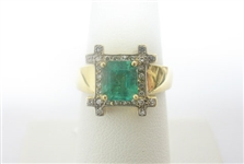 14K EMERALD AND DIAMOND RING 1.59 C.T.W.