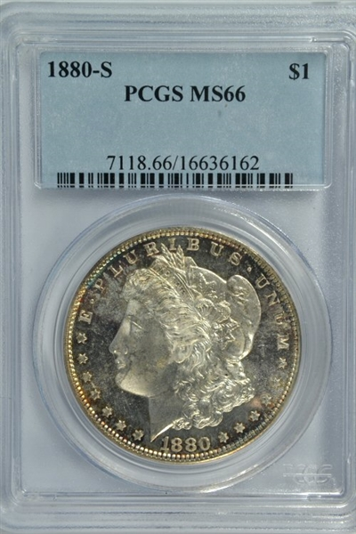 GORGEOUS PROOFLIKE PCGS MS66 GRADED 1880-S MORGAN SILVER DOLLAR