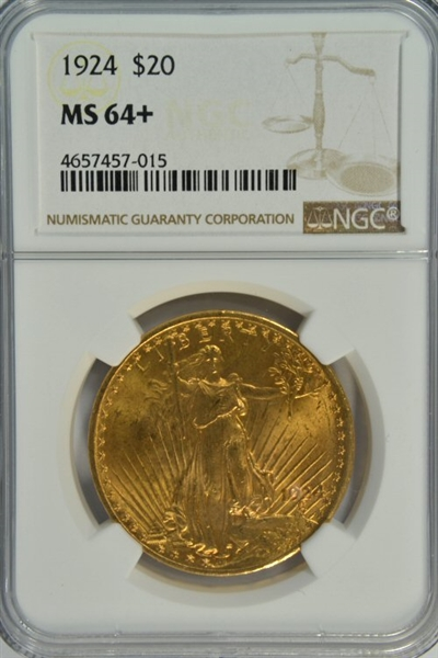 GORGEOUS ESSENTIALLY FULL GEM BU 1924 ST. GAUDENS $20 GOLD. NGC MS64+