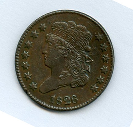 SCARCE NEARLY UNCIRCULATED 1826 CLASSIC HEAD HALF CENT