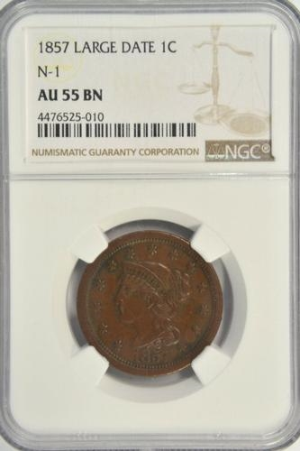 SCARCE 1857 BRAIDED HAIR LARGE CENT. NGC AU55BN