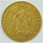 EXCEEDINGLY RARE 1800 CAPPED BUST $5 GOLD PIECE IN NICE AU