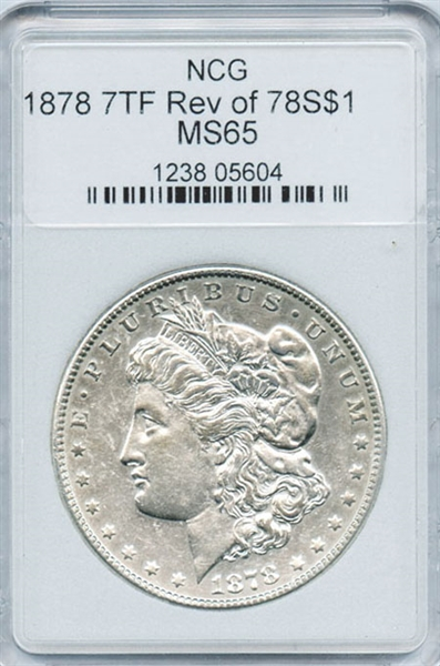 FIRST YEAR 1878 7TF. REV OF 78 S MORGAN SILVER DOLLAR