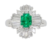 PLATINUM BALLERINA STYLE EMERALD AND DIAMOND RING