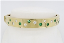 CUSTOM MADE DIAMOND AND EMERALD BANGLE BRACELET