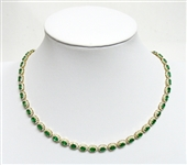 14K EMERALD AND DIAMOND NECKLACE 18.32 C.T.W.
