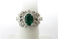 18K EMERALD AND DIAMOND RING 2.02 C.T.W.