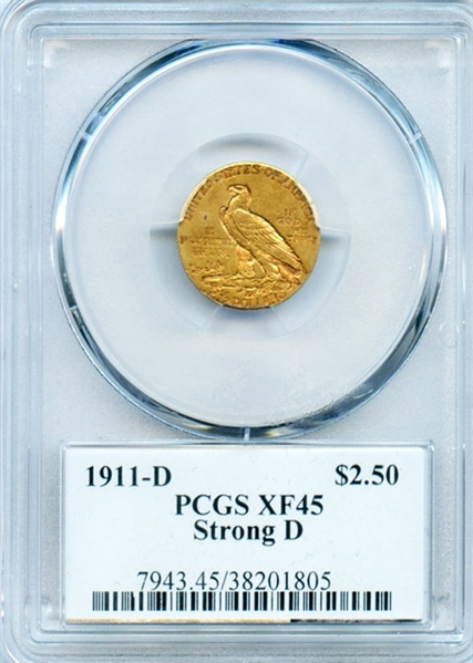 RARE SELDOM SEEN 1911 STRONG D $2 1/2 INDIAN GOLD COIN