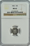 BLAZING SEMI-PROOFLIKE BU 1862 THREE CENT SILVER PIECE. NGC MS62
