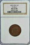 VERY SCARCE 1870 DOUBLE DIE OBVERSE TWO CENT PIECE (FS-004.3). NGC MS63BN