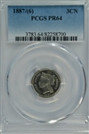 SUPER NEAR GEM PROOF 1887/6 THREE CENT NICKEL PIECE. PCGS PR64