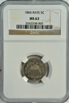 REFLECTIVE CHOICE BU 1866 WITH RAYS SHIELD NICKEL. NGC MS63