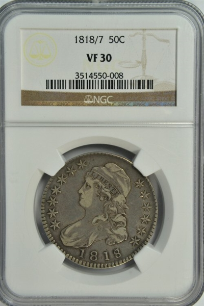 VERY SCARCE 1818 OVER 7 CAPPED BUST HALF DOLLAR. NGC VF30