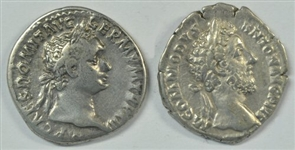 PAIR OF DIFFERENT AND SCARCE ROMAN SILVER DENARI: DOMITIAN & COMMODUS