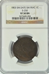 VERY NICE 1803 (SMALL DATE SMALL FRACTION) DRAPED BUST LARGE CENT (S-250). NGC VF30 BN