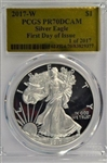 FLAWLESS SPECIAL PCGS PR70DCAM 2017-W GOLD FOIL HOLDER FIRST DAY OF ISSUE $1 EAGLE