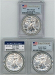 3 DIFFERENT FLAWLESS PCGS MS70 GRADED 2011, 2017-(W), & 2019 FIRST STRIKE SILVER EAGLES