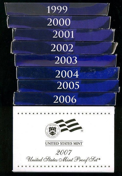 9 DIFFERENT MODERN US PROOF SETS: 1999-2007