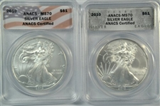 TWO (2) FLAWLESS 2010 $1 SILVER EAGLES. ANACS MS70
