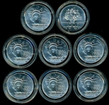8 GEM BU 1986 FRANCE SILVER 100 FRANCS IN CAPSULES