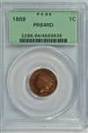 SENSATIONAL FULL MINT RED NEAR GEM PROOF 1869 INDIAN HEAD CENT. OLD GREEN LABEL PCGS PR64RD HOLDER