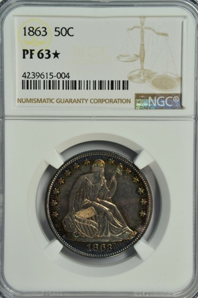 NGC PF63* GRADED 1863 NO MOTTO LIBERTY SEATED HALF DOLLAR