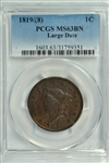 SCARCE CHOICE BU CHESTNUT-BROWN 1819/8 CORONET HEAD LARGE CENT. PCGS MS63BN