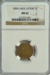 VERY SELECT BU 1858 LARGE LETTERS FLYING EAGLE CENT. NGC MS62