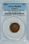 SUPER NEAR GEM PROOF 1873 (CLOSED 3) INDIAN HEAD CENT. PCGS PR64RB from THE LARRY SHEPHERD COLLECTION