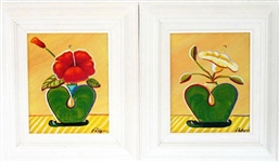 PALYN *** HEARTS & FLOWERS *** PAIR OF FRAMED SIGNED CANVASES