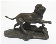 FRANKLIN MINT BRONZE LION STATUE