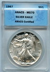CERTIFIED PERFECT 1987 $1 SILVER EAGLE MS70