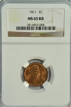 SUPERB FULL RED GEM BU 1911 LINCOLN CENT. NGC MS65RD