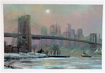CHEN ** BROOKLYN BRIDGE CAMBIER ** SIGNED MIXED MEDIA