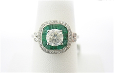 PLATINUM DIAMOND AND EMERALD RING 1.63 C.T.W.