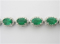 14K EMERALD AND DIAMOND BRACELET 10.98 C.T.W